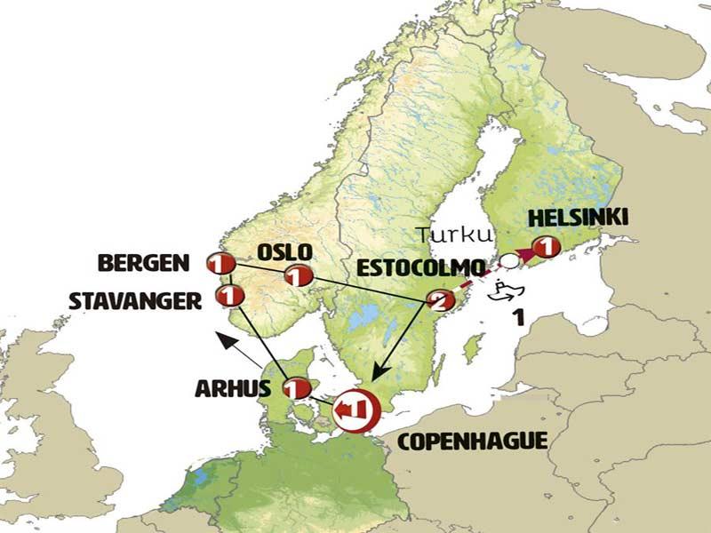 Mapa Itinerario Tour Circular Escandinavia 8 días